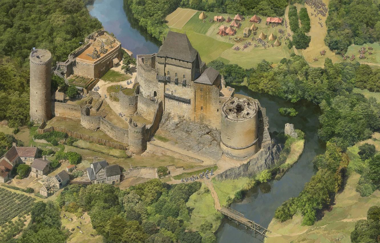 Фото обои река, замок, лагерь, Money Shots, Age of Empires