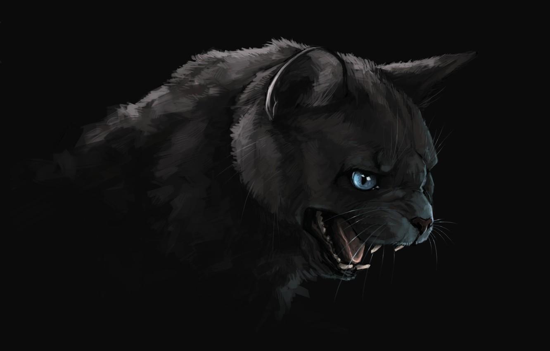 Фото обои тьма, пасть, клыки, черный кот, art, злобный взгляд, Brevisart