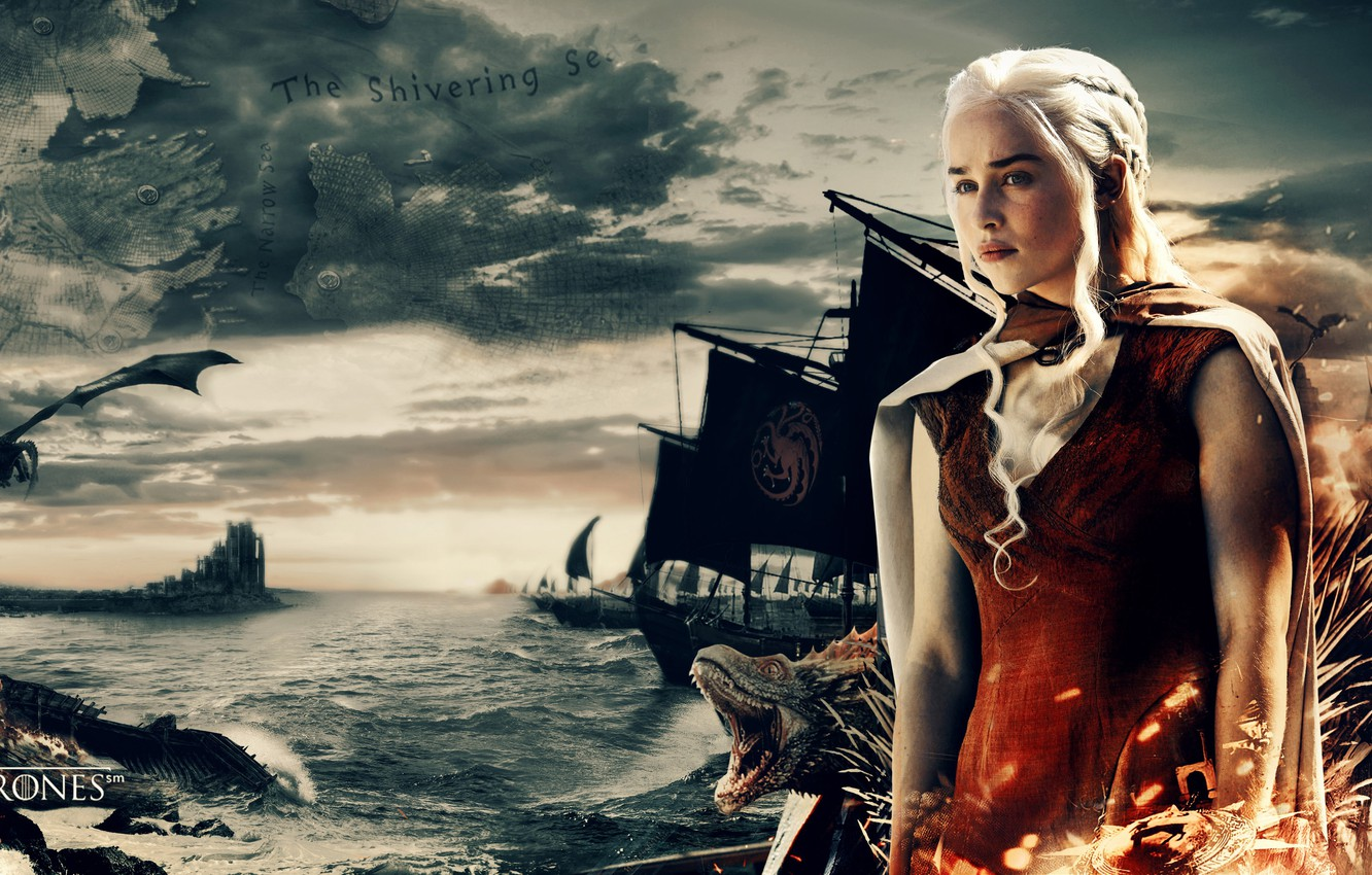 Фото обои sea, war, dragon, map, A Song of Ice and Fire, Game of Thrones, queen, Daenerys …