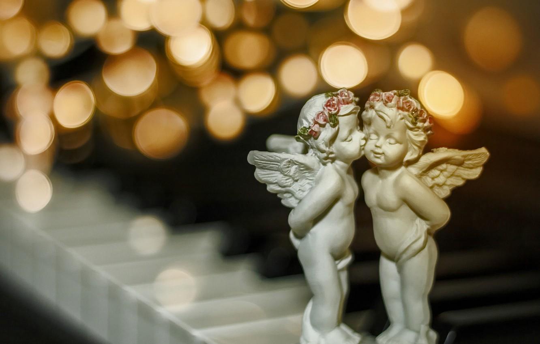 Фото обои макро, поцелуй, Рождество, боке, ангелочки