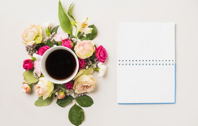 Фото обои цветы, кофе, блокнот, flower, notebook, cup, coffee, composition