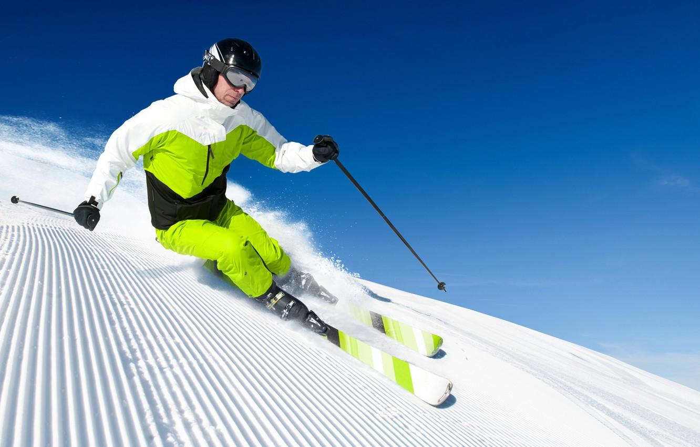 Обои спуск, Лыжи, лыжник. Спорт foto 8