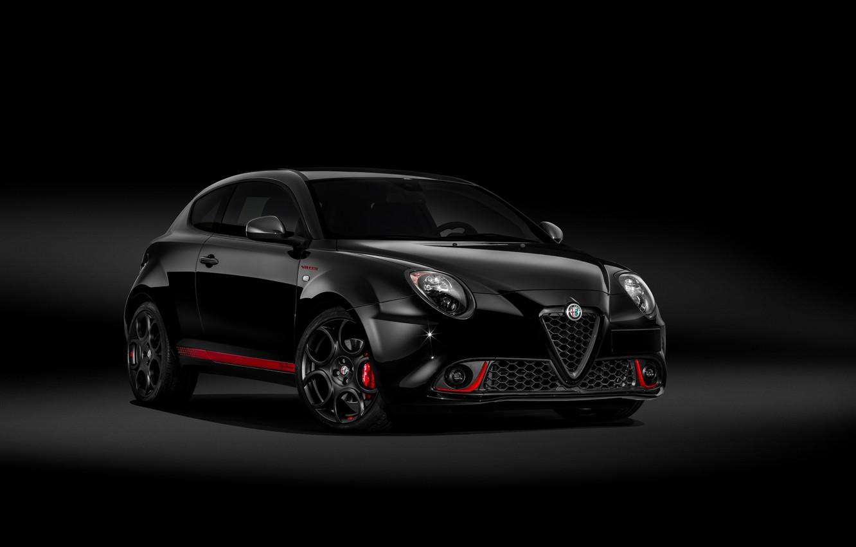 Фото обои Alfa Romeo, автомобиль, чёрный фон, чёрный цвет