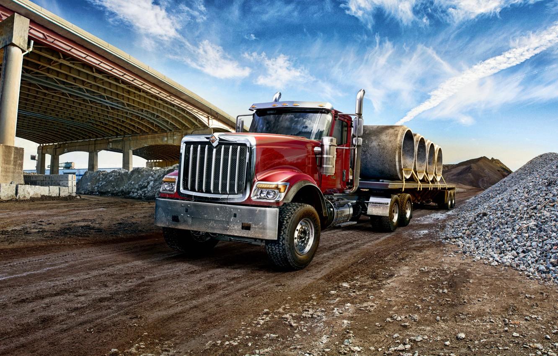 Фото обои мост, грузовик, International, спецтехника, интернационал