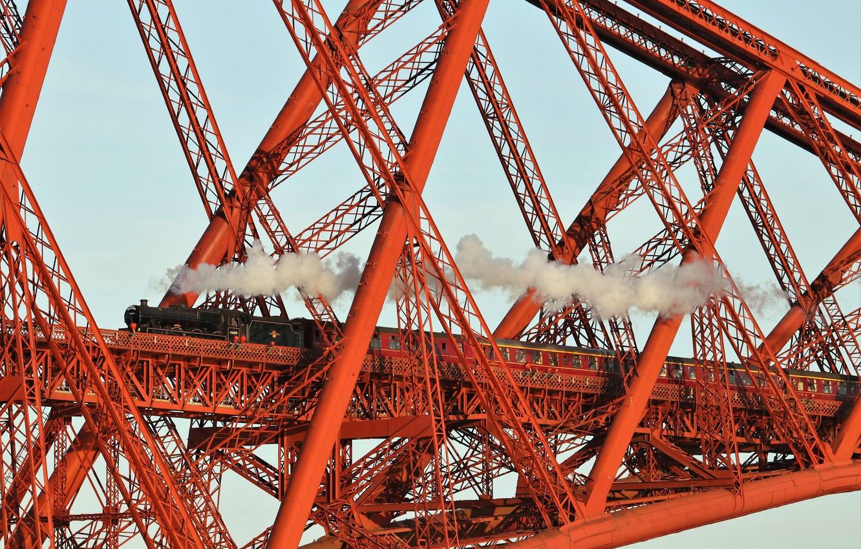 Обои scotland, поезд, forth bridge, вагоны. Разное foto 6