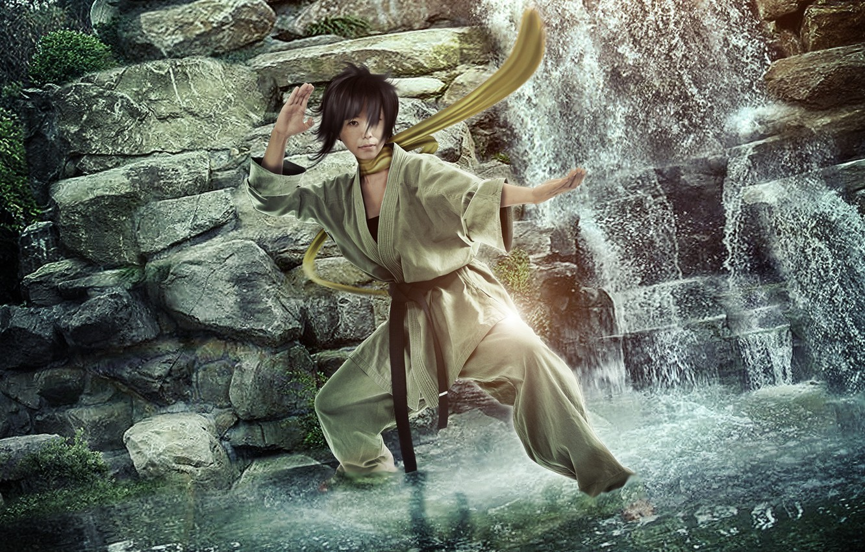 Фото обои водопад, Street Fighter, Makoto, BossLogic, каратистка, Hyper Real