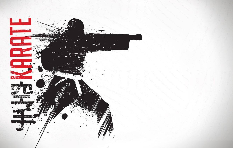 Фото обои фон, воин, удар, пояс, мужчина, кимоно, Карате, единоборство