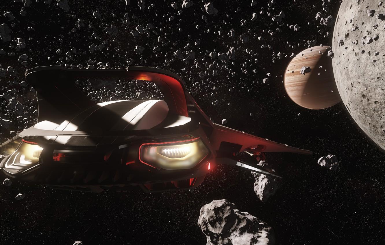 Фото обои звезды, полет, осколки, планета, звездолет, Star Citizen