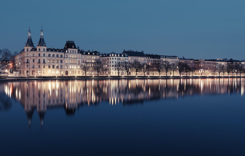 Фото обои house, lake, castle, Copenhagen, Peblinge Lake