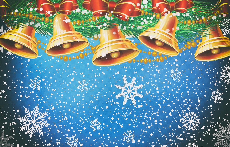 Обои снежинки, колокольчики. Новый год foto 19