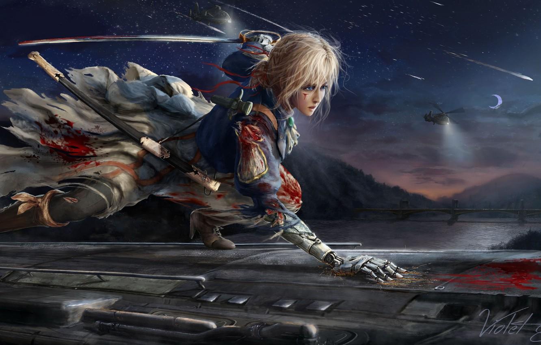 Фото обои девушка, меч, аниме, Violet Evergarden