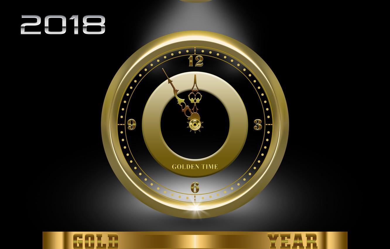 Фото обои лучи, свет, время, блики, рендеринг, золото, стрелки, часы, рождество, свечение, черное, цифры, 2018