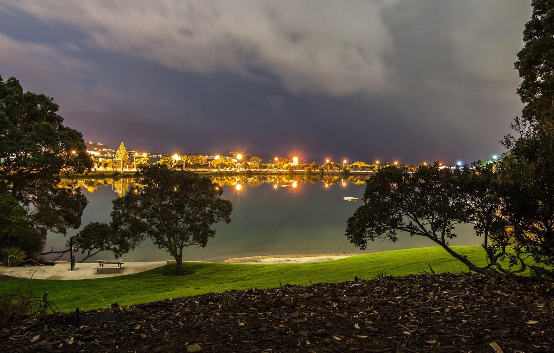 Обои окленд, Вечер, огни, Новая Зеландия. Города foto 10