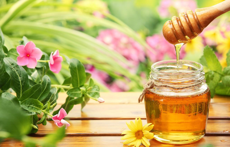 Фото обои цветы, мед, банки