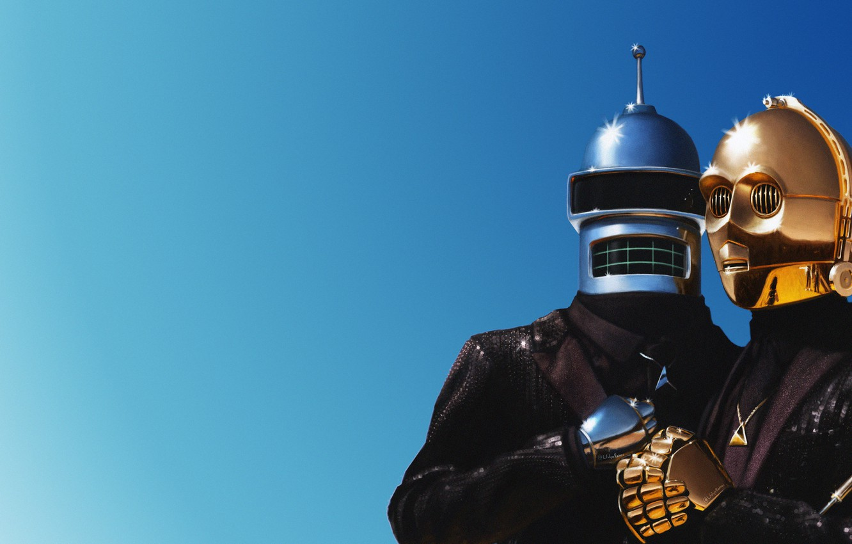 Фото обои Музыка, Бендер, Футурама, Арт, Daft Punk, Костюмы, Дафт Панк, Bender Bending Rodriguez, Starwars, Маски, C-3PO, ...