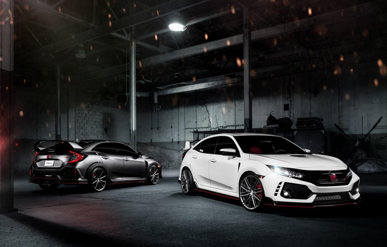 Фото обои машины, ночь, гараж, Honda, Civic Type R