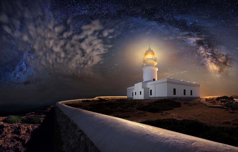 Фото обои ночь, берег, маяк