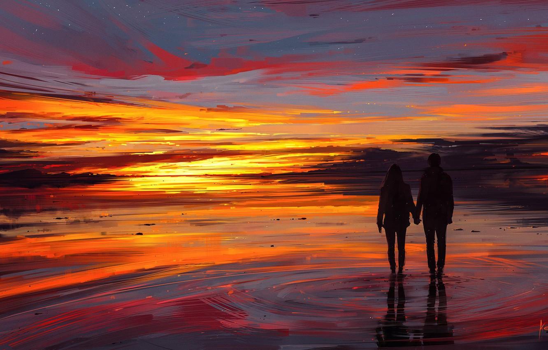 Фото обои girl, love, twilight, sky, sea, landscape, woman, sunset, night, stars, sun, man, boy, mood, couple, …