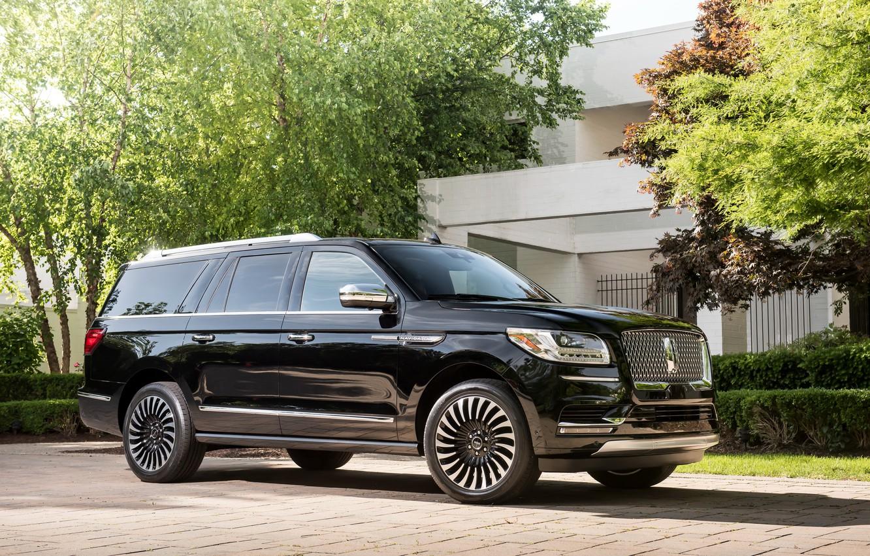 Фото обои Lincoln, Черный, Автомобиль, 2018, Navigator