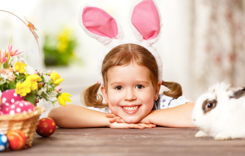 Фото обои яйца, кролик, девочка, зайка