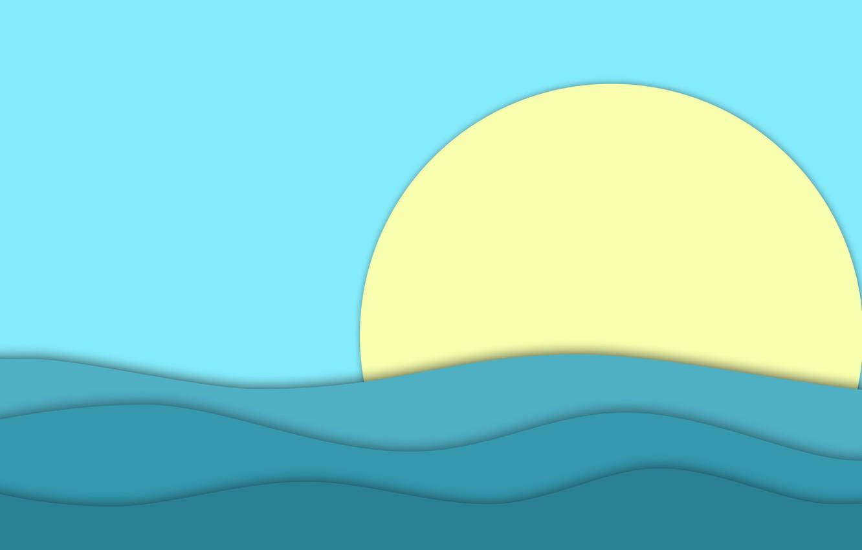 Фото обои ocean, blue, water, sun