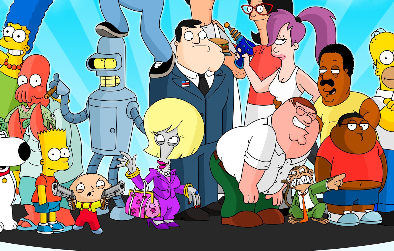 Фото обои Futurama, cartoon, crossover, Family Guy, The Simpsons, tv series, The Cleveland Show, American Dad!, Bob's …