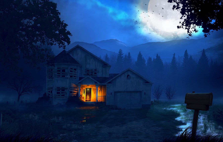 Обои особняк, дома, ночь. Рендеринг foto 11