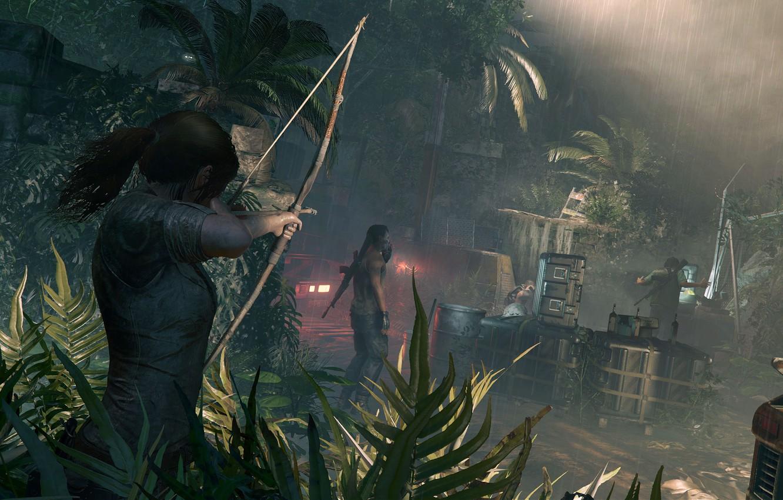 Фото обои волосы, лук, Tomb Raider, Лара Крофт, Shadow of the Tomb Raider