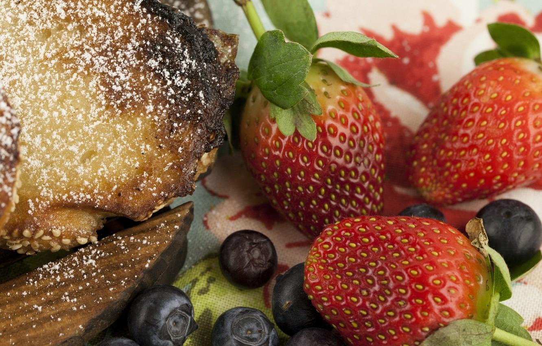 Фото обои ягоды, Клубника, Strawberry, голубика, Пирог
