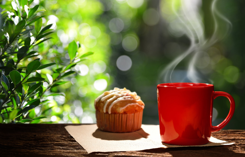 Фото обои кофе, завтрак, чашка, hot, coffee cup, cupcake, кекс, good morning, breakfast