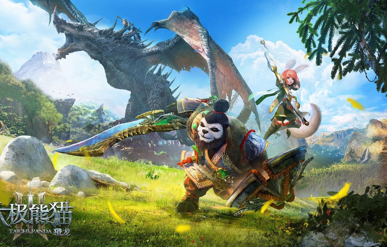 Фото обои игра, арт, сюжет, панда, герои, Illustrator, маунт, Taichi Panda, fang xinyu, Taichi Panda-3D