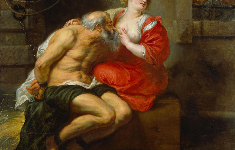 Обои Кимон и Перо, масло, картина, Питер Пауль Рубенс, холст, мифология. Разное foto 6