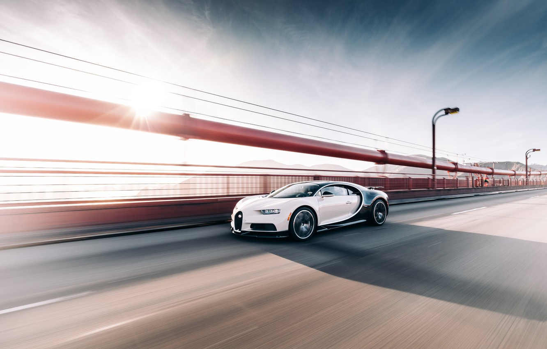 Фото обои Bugatti, Black, White, VAG, Chiron