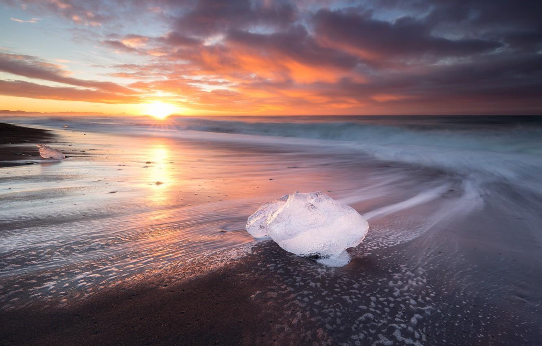Фото обои пляж, солнце, природа, лёд, Исландия