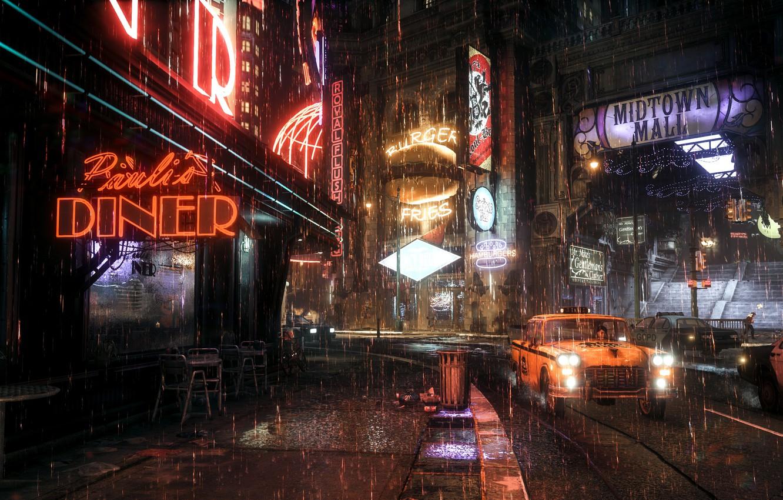 Фото обои город, дождь, Rocksteady Studios, Batman Arkham Knight