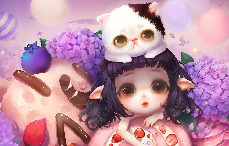 Фото обои цветы, аниме, арт, девочка, котёнок, вкусняшки, milkyu dong, Lolita cake and cat