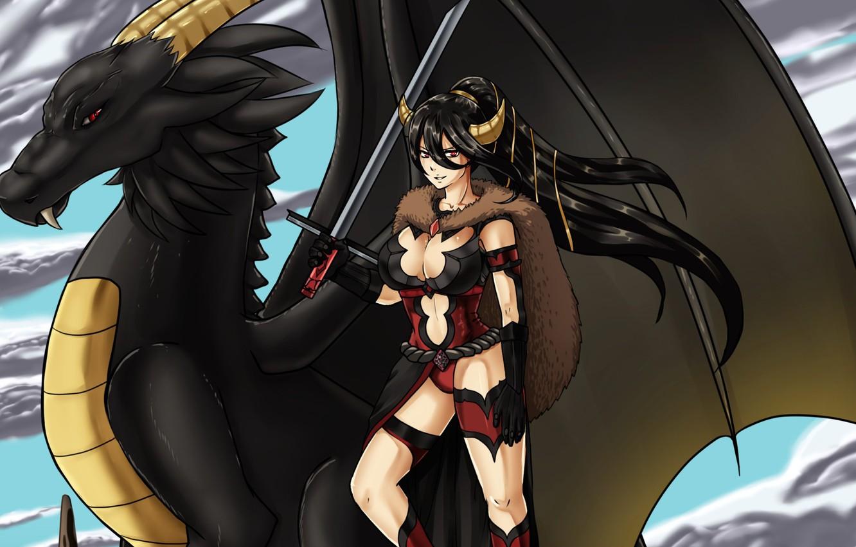 Фото обои demon, sword, armor, devil, weapon, woman, wings, ken, blade, dragon, brunette, fang, warrior, oppai, bishojo, …