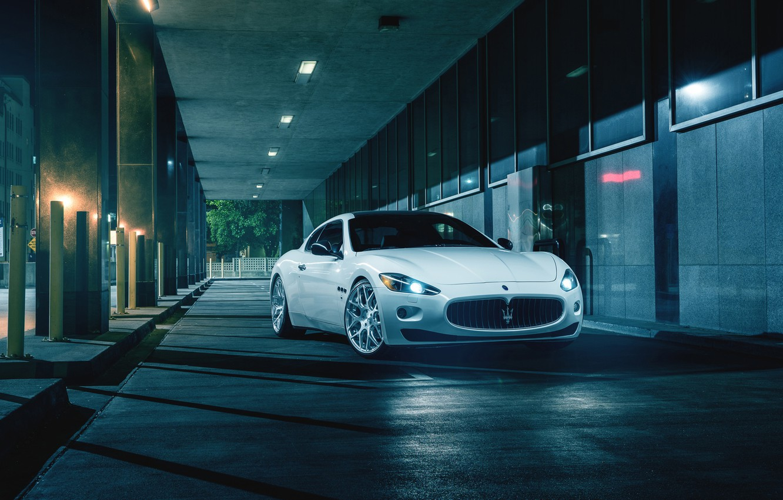 Фото обои Maserati, Front, Night, Street, Supercar, Gran Turismo