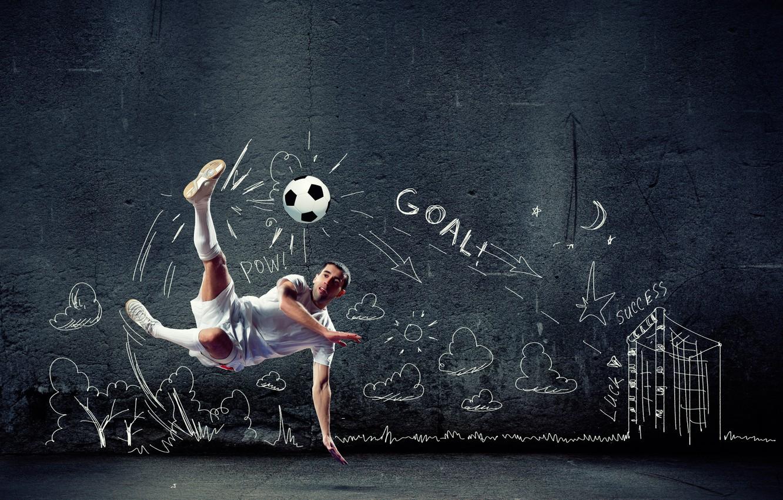 Фото обои креатив, фон, стена, прыжок, футбол, игра, шорты, мяч, футболка, удар, спортсмен, мужчина, гольфы, футболист, в …