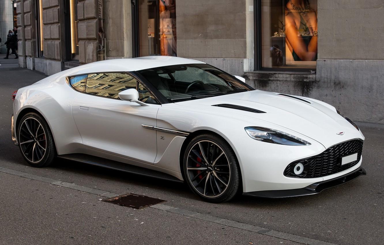 Фото обои Aston Martin, White, Street, Zagato, Vanquish