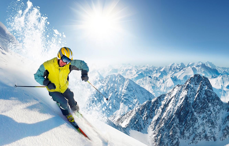 Обои лыжник, спуск, склон. Спорт foto 8