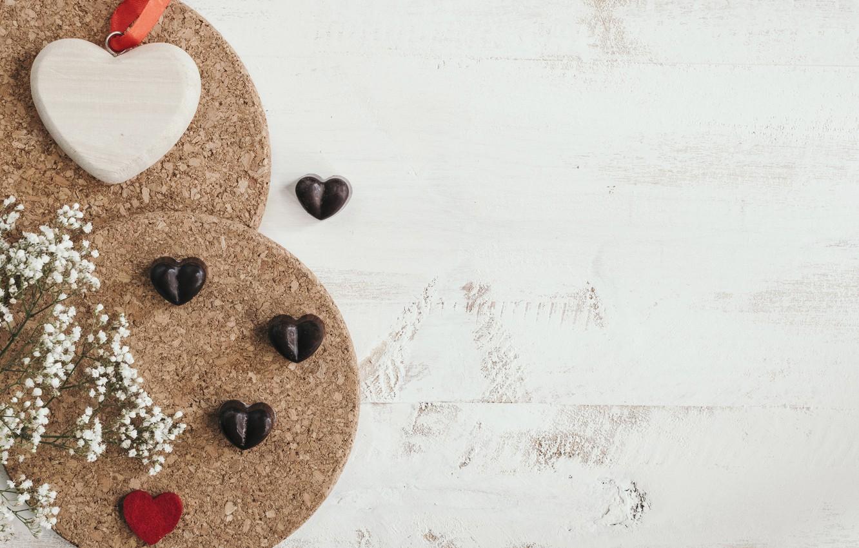 Фото обои Шоколад, конфеты, сердечки, Праздник, день влюбленных