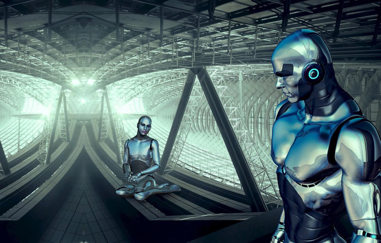 Фото обои свет, металл, трубы, огни, пространство, будущее, люди, фантастика, конструкция, женщина, человек, робот, балки, технологии, роботы, ...