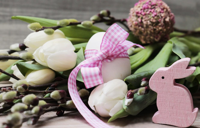 Фото обои кролик, тюльпаны, Праздник, Бантик, Верба, Пасха Яйца