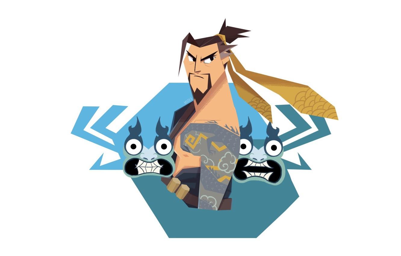 Фото обои арт, crossover, Overwatch, samurai Jack, Hanzo Kabuki