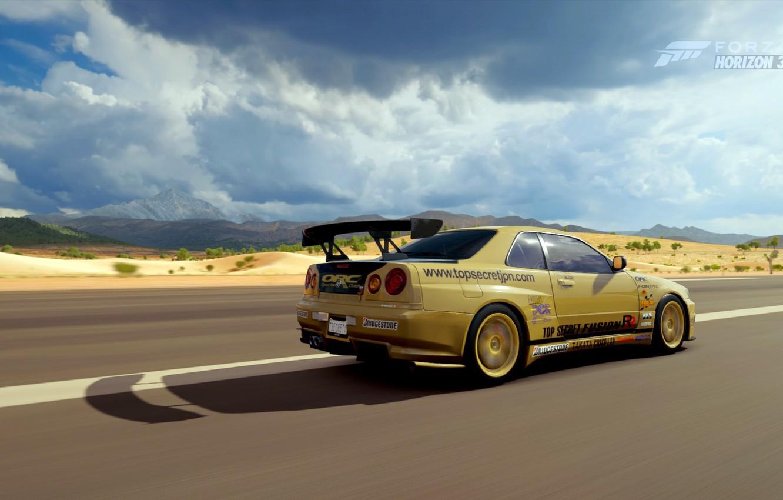 Фото обои облака, Nissan skyline, GTR R34, Forza Horizon 3, Top secret copy