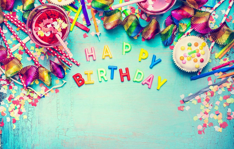 Фото обои шарики, colorful, конфеты, сладости, Happy Birthday, colours, конфетти, celebration, candy, decoration, День Рождения