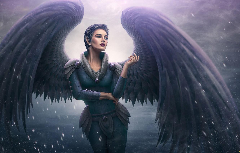 Фото обои женщина, ангел, аниме, арт