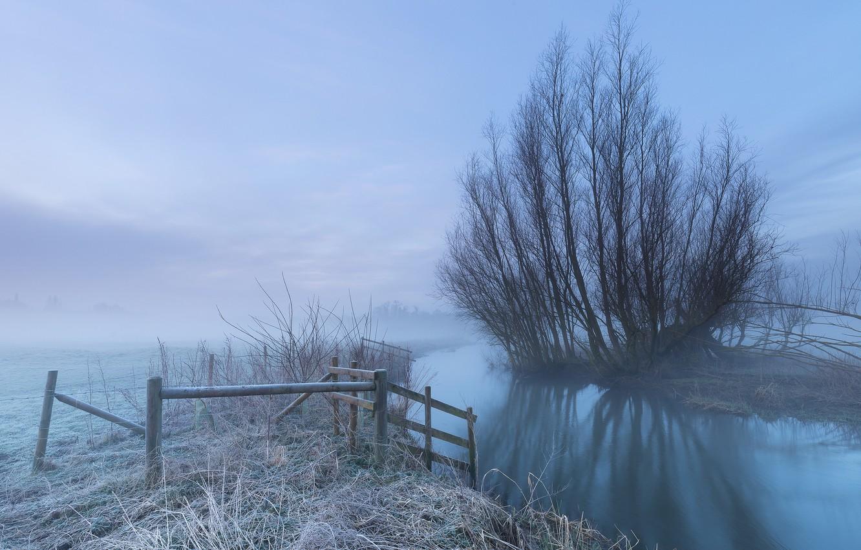 Фото обои иней, туман, река