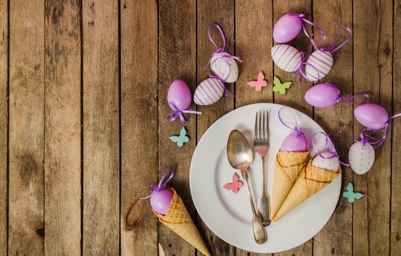 Фото обои яйца, весна, тарелка, Пасха, рожок, wood, spring, Easter, eggs, decoration, Happy, вафельный